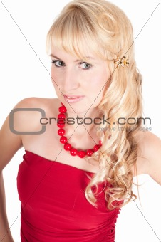Portrait of beautiful woman in red