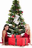 Happy women with Christmas presents