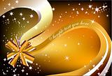 Christmas present ribbon gold bow. Vector