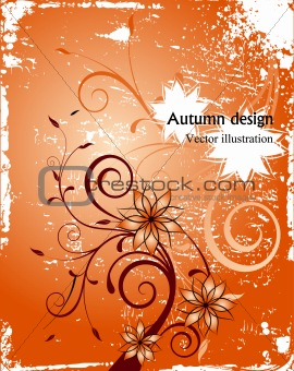Autumn floral grunge background. Vector