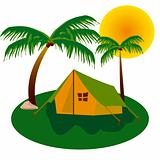 Tent costing under palm