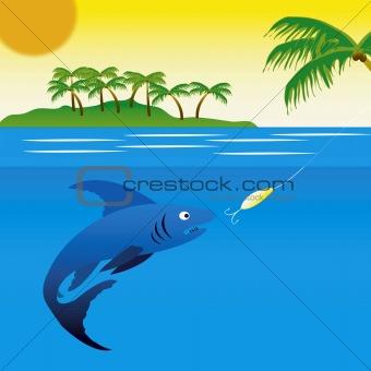 Big fish pecks on spoon bait
