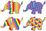 four colored elephants