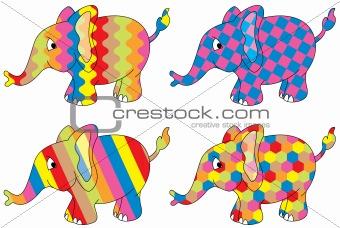 four colored elephants