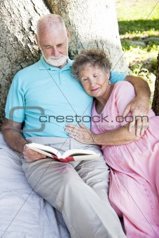Senior Couple Reading Together Outdoors