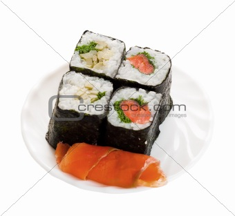 4 sushi on plate with fish