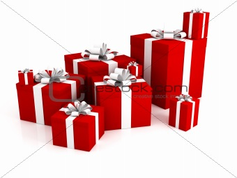 3d gift boxes isolated on a white background