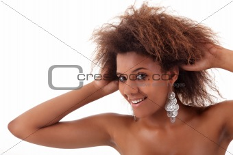 beautiful black woman, holding her hair with his hands, isolated on white background
