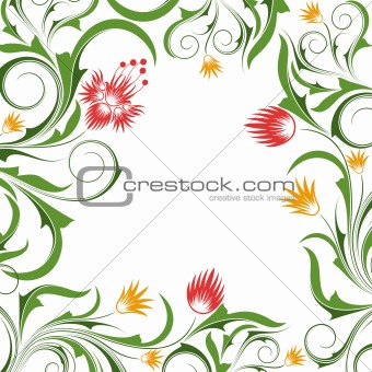 Background  with  flowers and branches