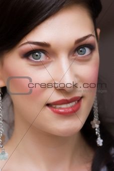portrait of brunette young lady with make up