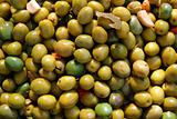 olives in pickling brine background texture