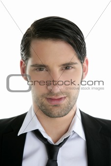 Closeup young man portrait black suit and necklace