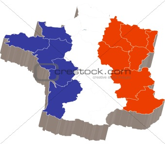 3d map with flag of France