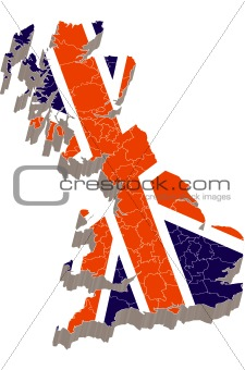 3d map with flag of United Kingdom
