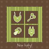 New baby arrival card, vector