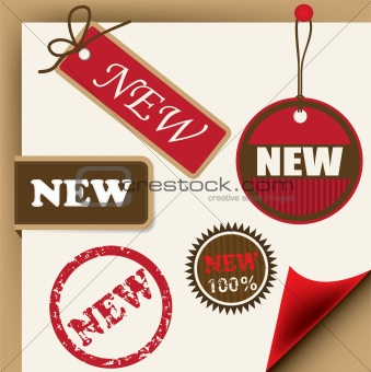 Ribbons, tags and stamps for new items, vector