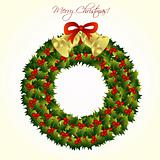 Christmas wreath with bells, vector
