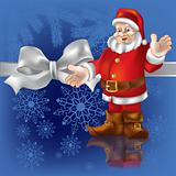 christmas gift Santa Claus on a  blue background