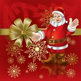 christmas gift Santa Claus on a  red background