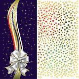 christmas gift white bow on black background