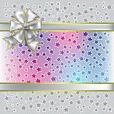 christmas gift white bow on grey background