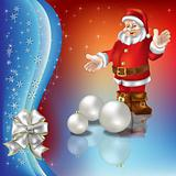 christmas greeting with Santa Claus and white balls