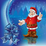 christmas greeting with Santa Claus in blue forest