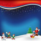 christmas greeting with Santa Claus on a blue  background