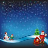 christmas greeting with Santa Claus on a blue stars background