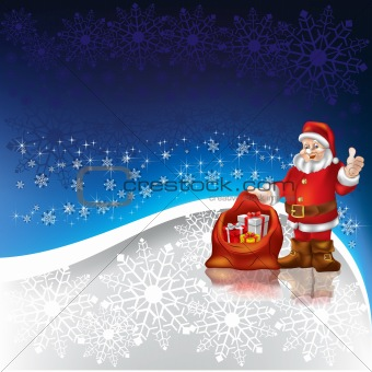 Santa Claus with christmas gifts on a snowflakes background