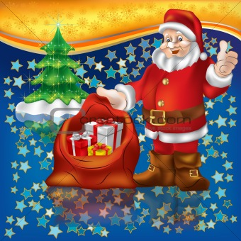 Santa Claus with christmas gifts on a stars background
