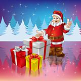 Santa Claus with christmas gifts on a woods background
