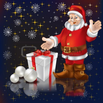 Santa Claus with gifts on a black background