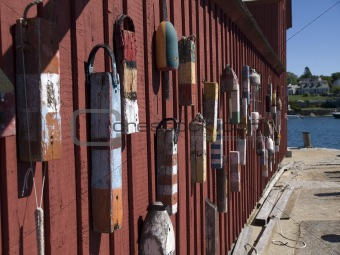 bouys on red barn in rockport massachusetts