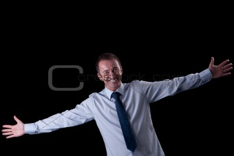 happy  man with open arms, isolated on white, studio shot