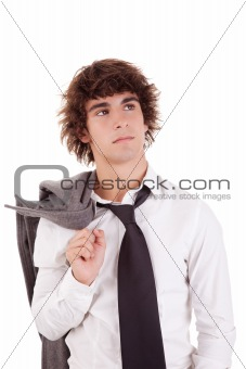 Portrait of a young business man isolated on white background. Studio shot.