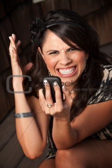 Beautiful Woman Receiving Call or Text