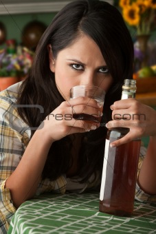 Alcoholic Latina Woman