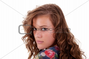 beautiful and sad young woman, looking back, isolated on white, studio shot