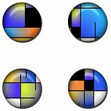 Abstract Glossy Button Set