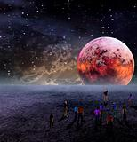 People Gather to View Moon