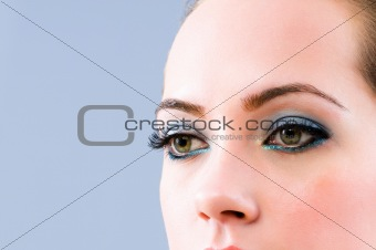 Close up of face with beautiful makeup