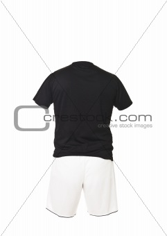 Black football shirt with white shorts