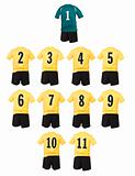 Yellow Football team shirts