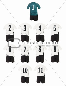 White Football team shirts