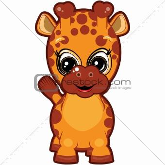 Little Giraffe - smiling cartoon for your design