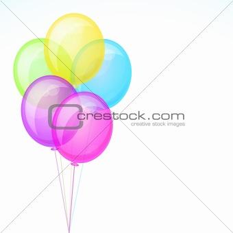 Five Birthday Celebration Balloons Isolated on White Background.