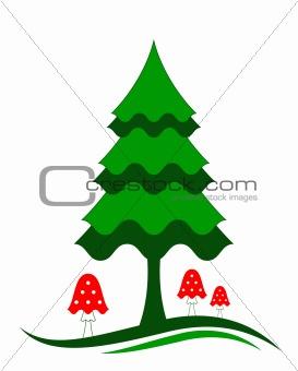 tree and fly mushrooms