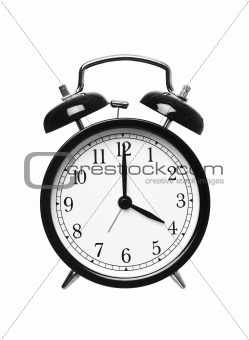 Alarm clock shows four o`clock