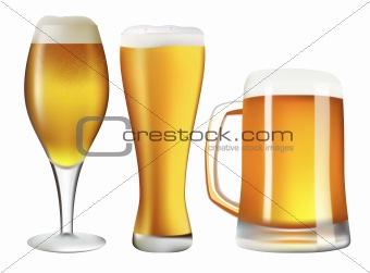 Three beer pints.
